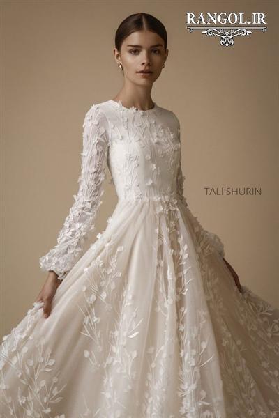 مدل لباس عروس پوشیده آستین دار جدید شیک رنگل rangol