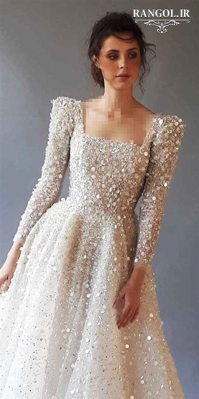 مدل لباس عروس یقه خشتی مربعی شیک جدید رنگل rangol