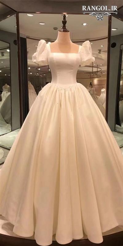 لباس عروس یقه خشتی مربعی rangol